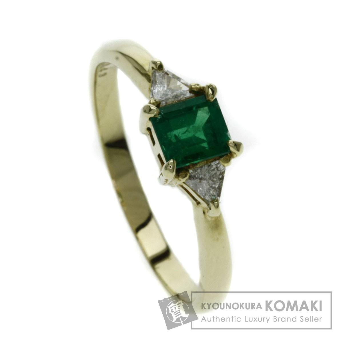 0.43ct エメラルド/ダイヤモンド リング・指輪 K18イエローゴールド 2.6g レディース 【中古】