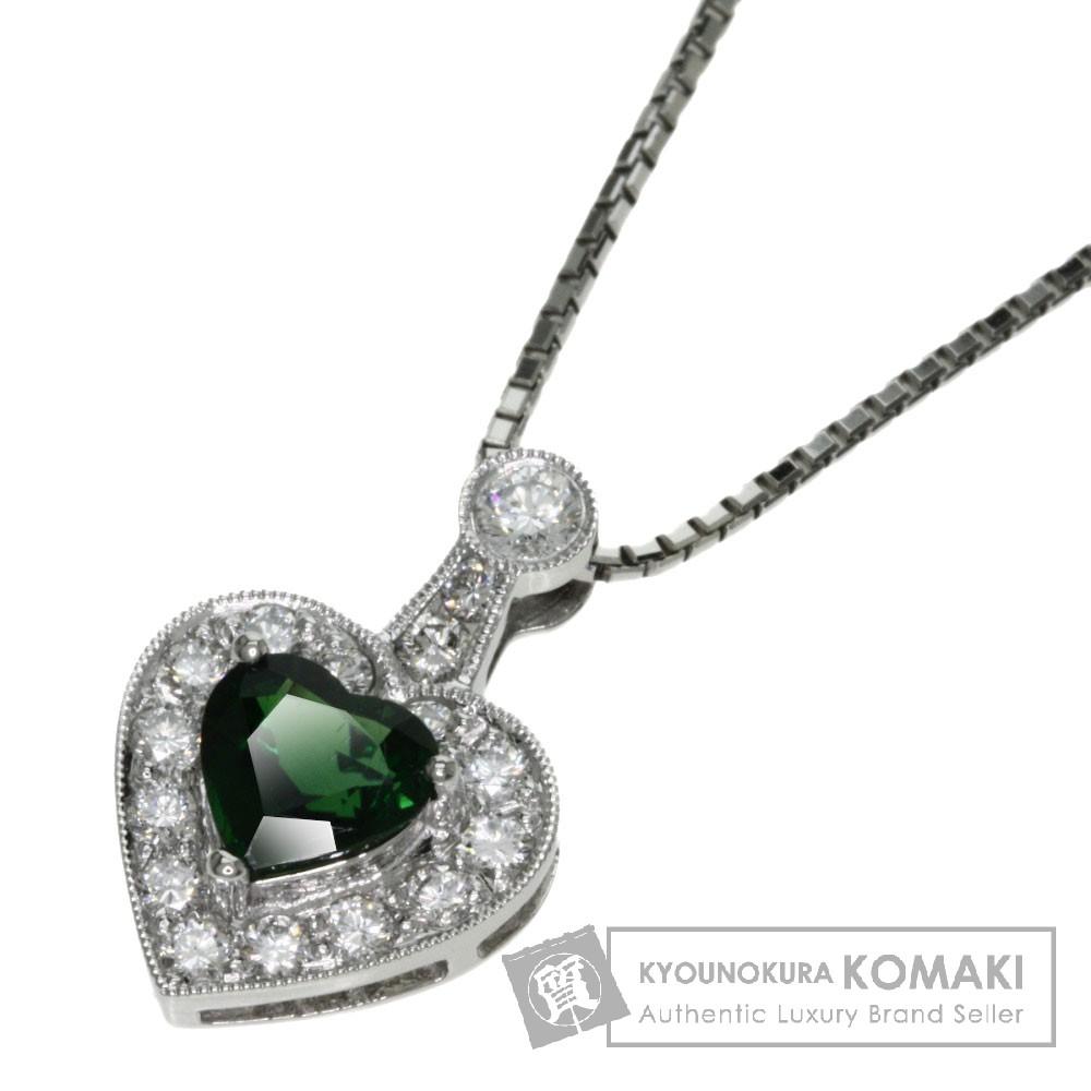 0.6ct トルマリン/ダイヤモンド ネックレス プラチナPT900/Pt850 6.9g レディース 【中古】