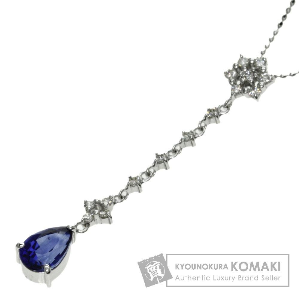1.4ct サファイア/ダイヤモンド ネックレス K18ホワイトゴールド 3.3g レディース 【中古】