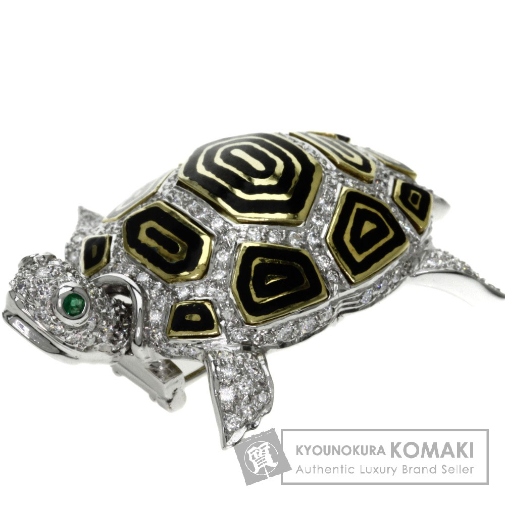 1.83ct エメラルド/ダイヤモンド/ルビー ブローチ K18ホワイトゴールド 26.9g レディース 【中古】