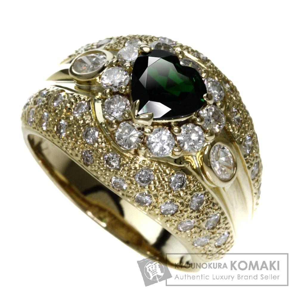 0.95ct グロッシュラーガーネット/ダイヤモンド リング・指輪 K18イエローゴールド 13.8g レディース 【中古】