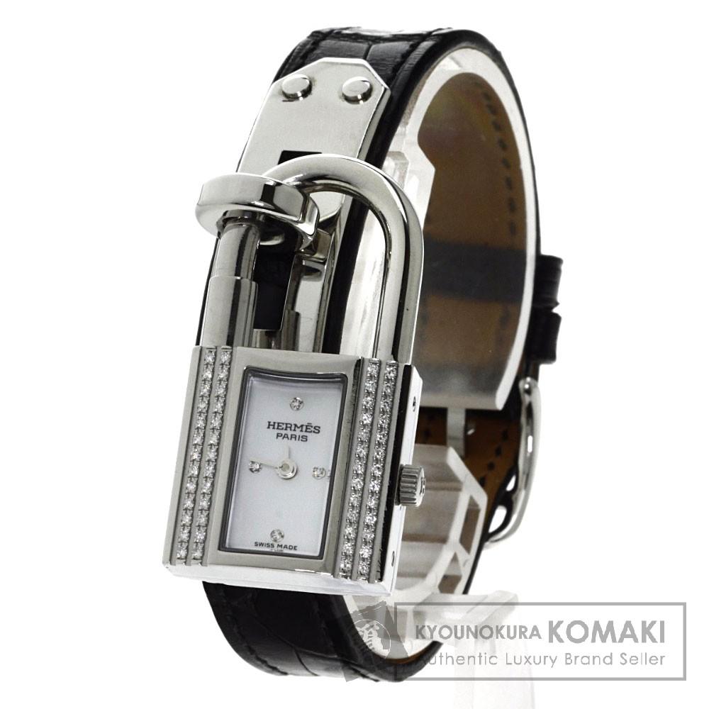 HERMES ケリーウォッチ ダイヤモンド 腕時計 ステンレス/アリゲーター レディース 【中古】【エルメス】