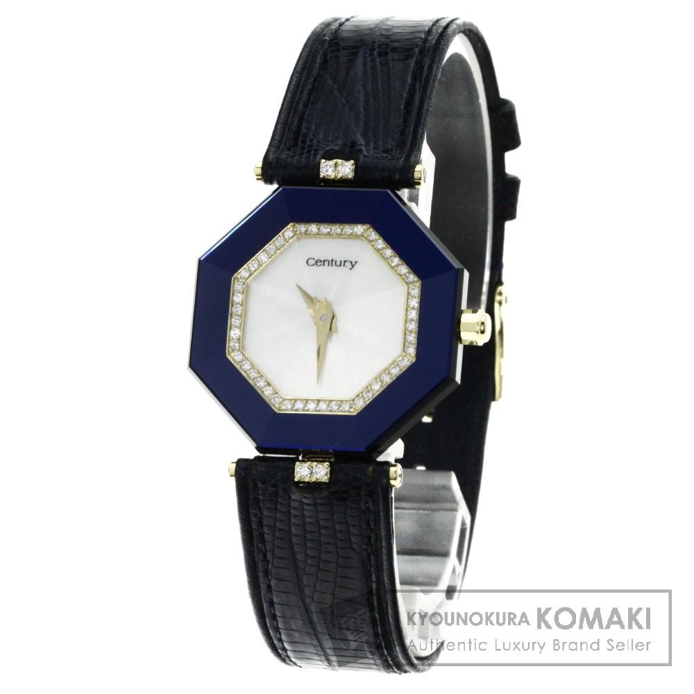 CENTURY ラッキーエイト ダイヤモンド 腕時計 K18イエローゴールド/革 レディース 【中古】【センチュリー】