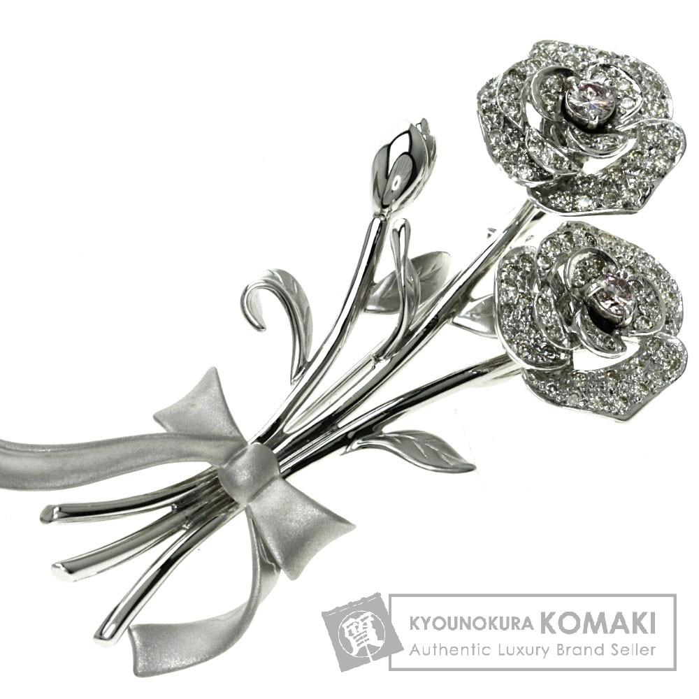 0.6ct ダイヤモンド/ローズ ブローチ K18ホワイトゴールド 11.74g レディース 【中古】