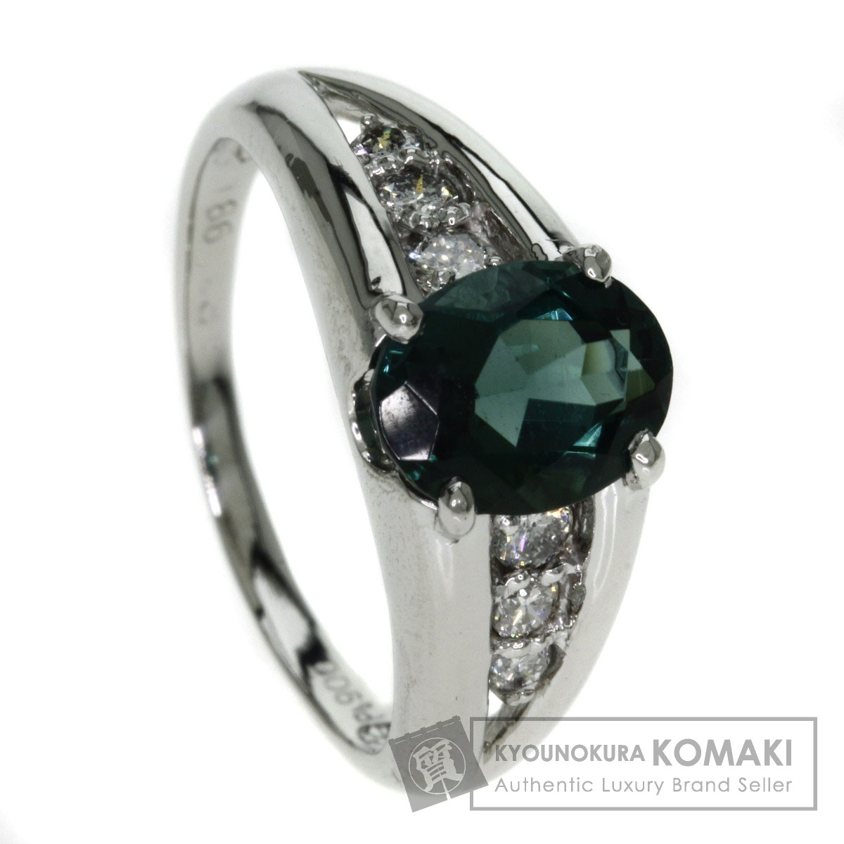 1.86ct グリーントルマリン/ダイヤモンド リング・指輪 プラチナPT900 5.6g レディース 【中古】