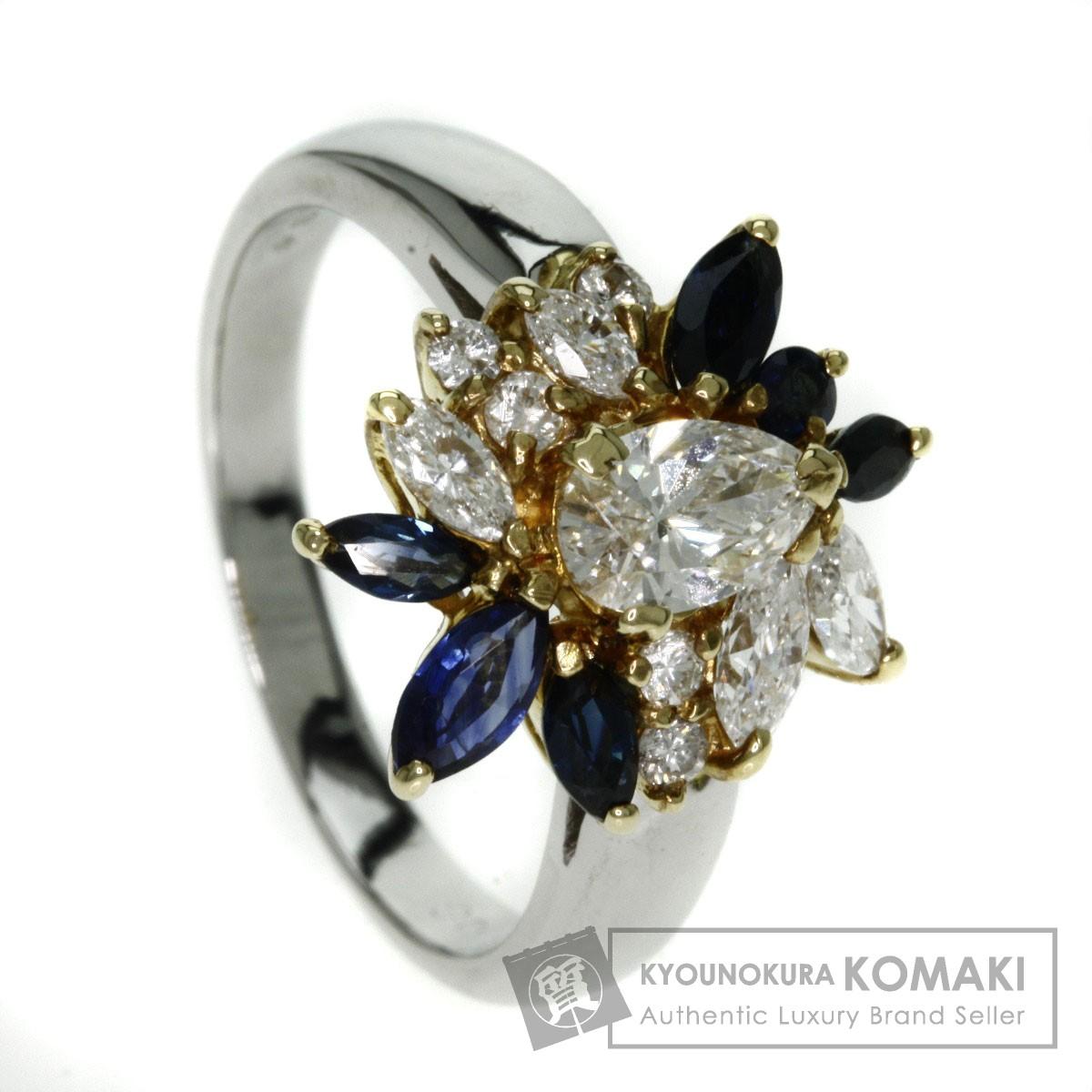 0.59ct サファイア/ダイヤモンド リング・指輪 プラチナPT850/K18YG 5.9g レディース 【中古】