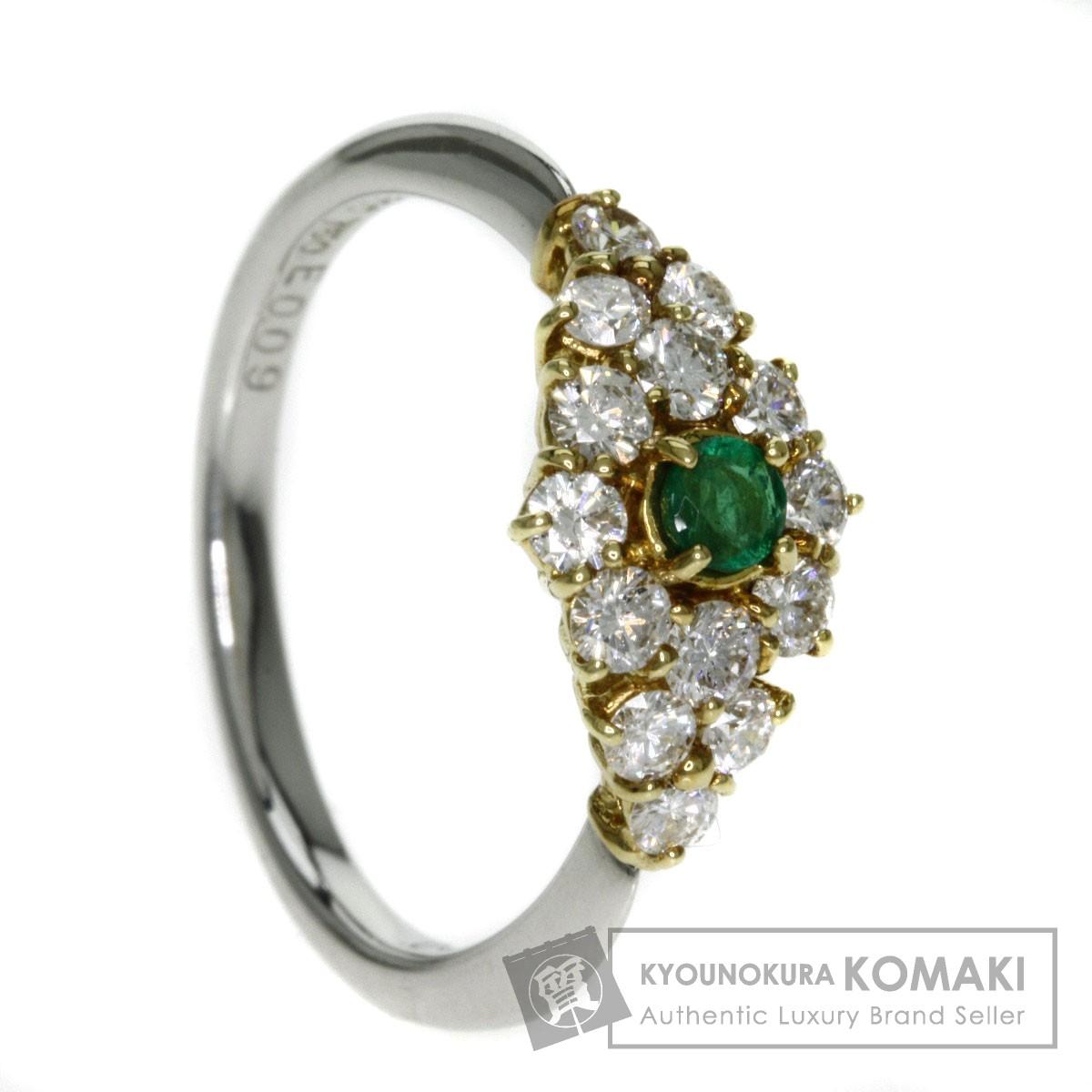 0.09ct エメラルド/ダイヤモンド リング・指輪 プラチナPT900/K18YG 3.4g レディース 【中古】