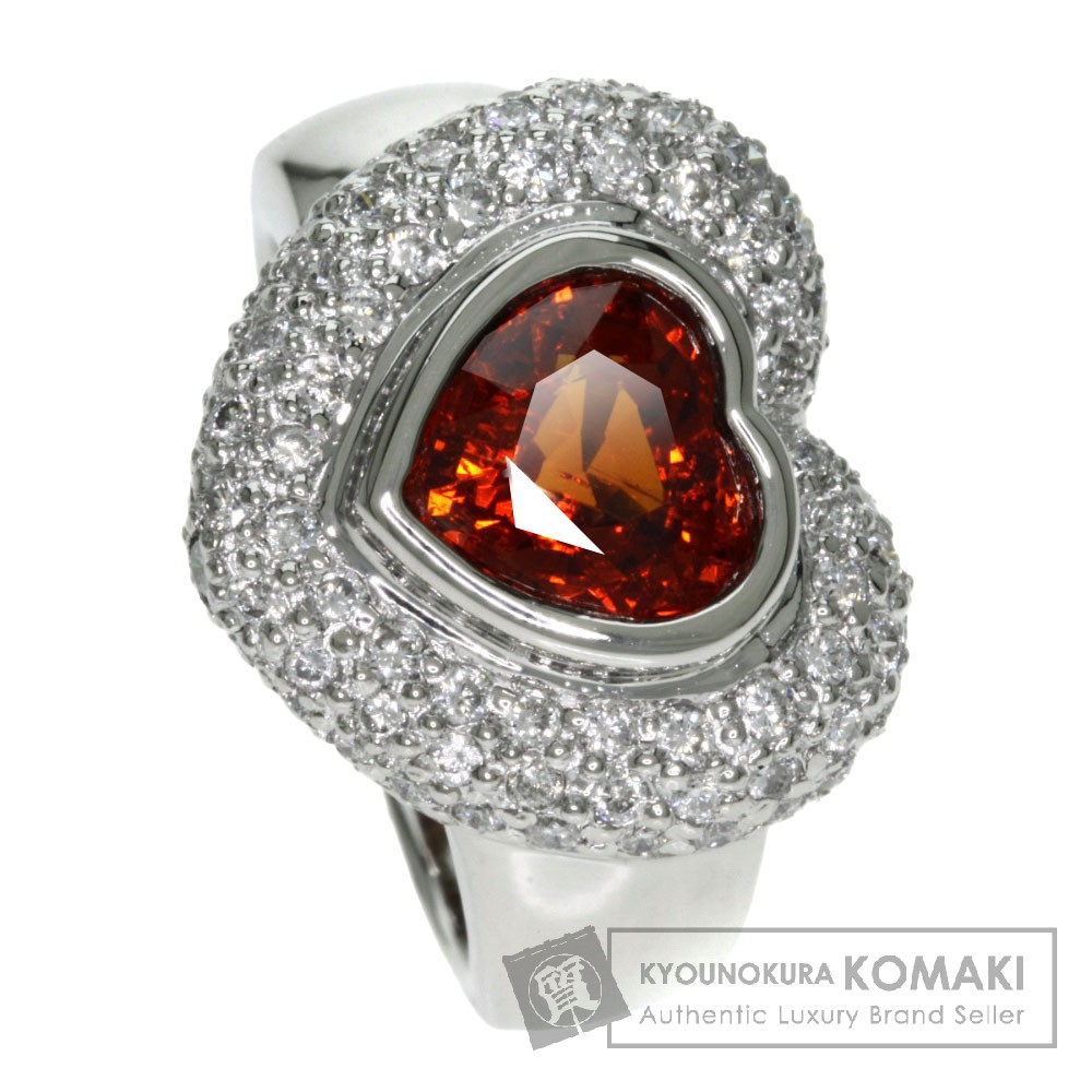 2.5ct スペサルティンガーネット/ダイヤモンド リング・指輪 プラチナPT900 13.5g レディース 【中古】