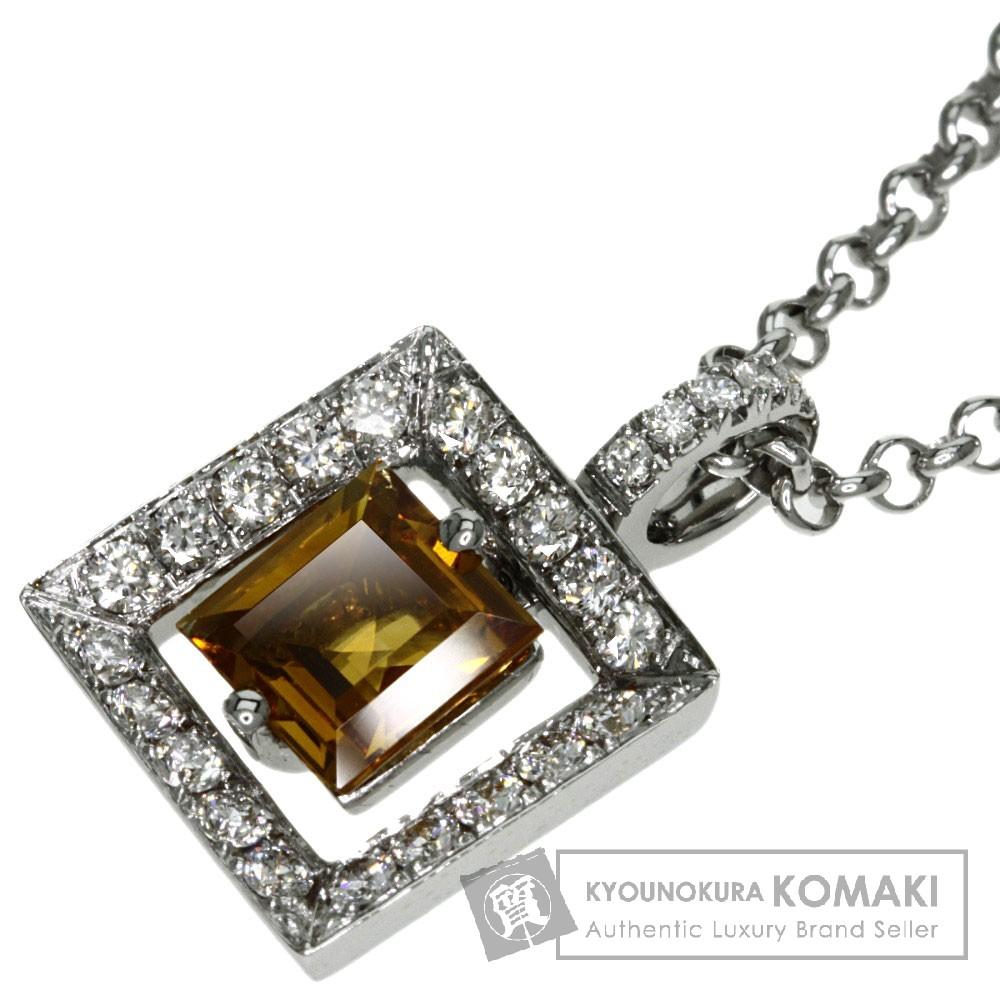 0.35ct シトリン/ダイヤモンド ネックレス K18ホワイトゴールド 7.3g レディース 【中古】