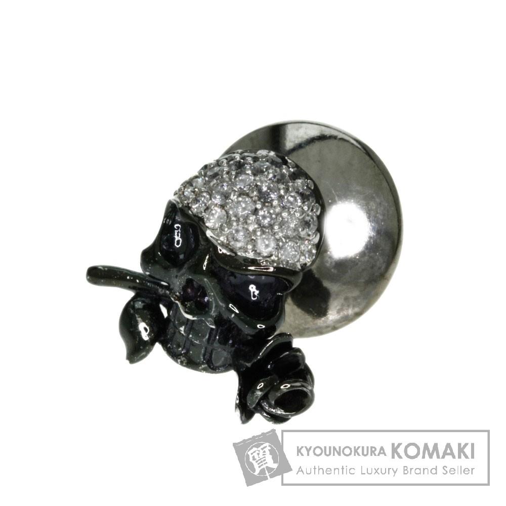 0.13ct スカル ダイヤモンド タイピン K18ホワイトゴールド 1.6g メンズ 【中古】