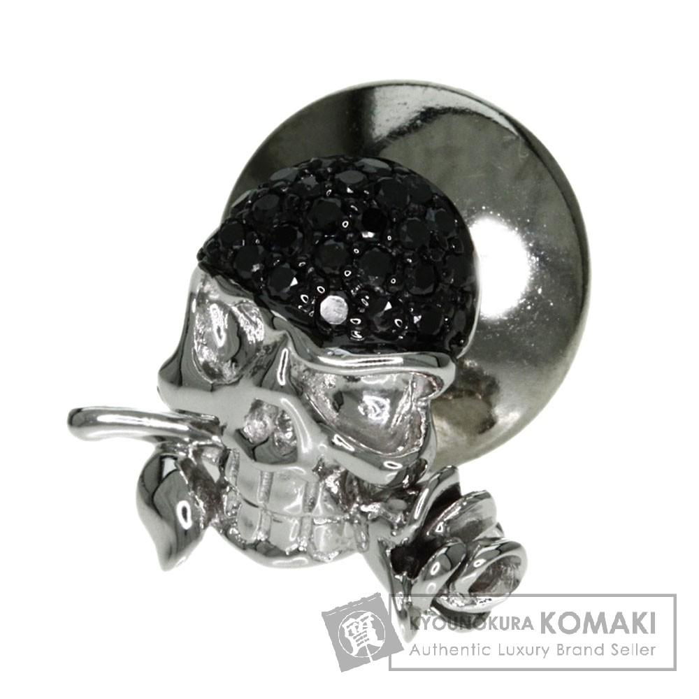 0.14ct スカル ダイヤモンド タイピン K18ホワイトゴールド 1.6g メンズ 【中古】