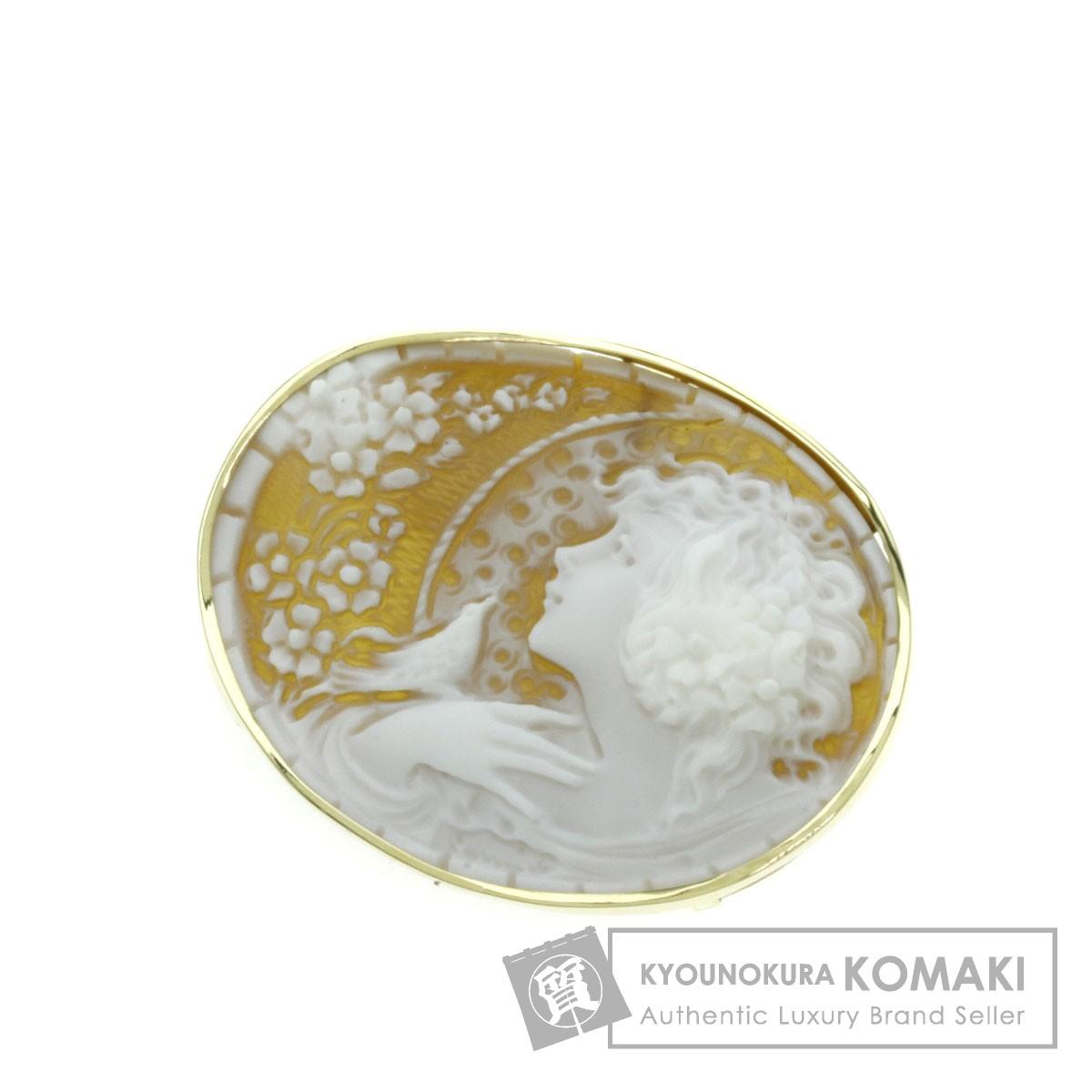 シェルカメオ/ペンダント ブローチ K18イエローゴールド 8.5g レディース 【中古】