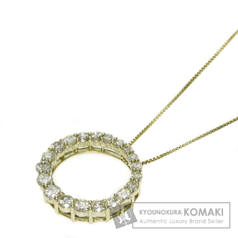 0.8ct ダイアモンド/サークル ネックレス K18イエローゴールド 3.1g レディース 【中古】