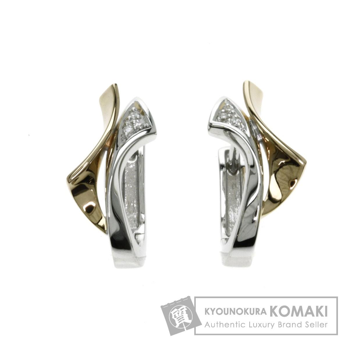0.02ct ダイヤモンド ピアス K18イエローゴールド/K18WG 4.4g レディース 【中古】