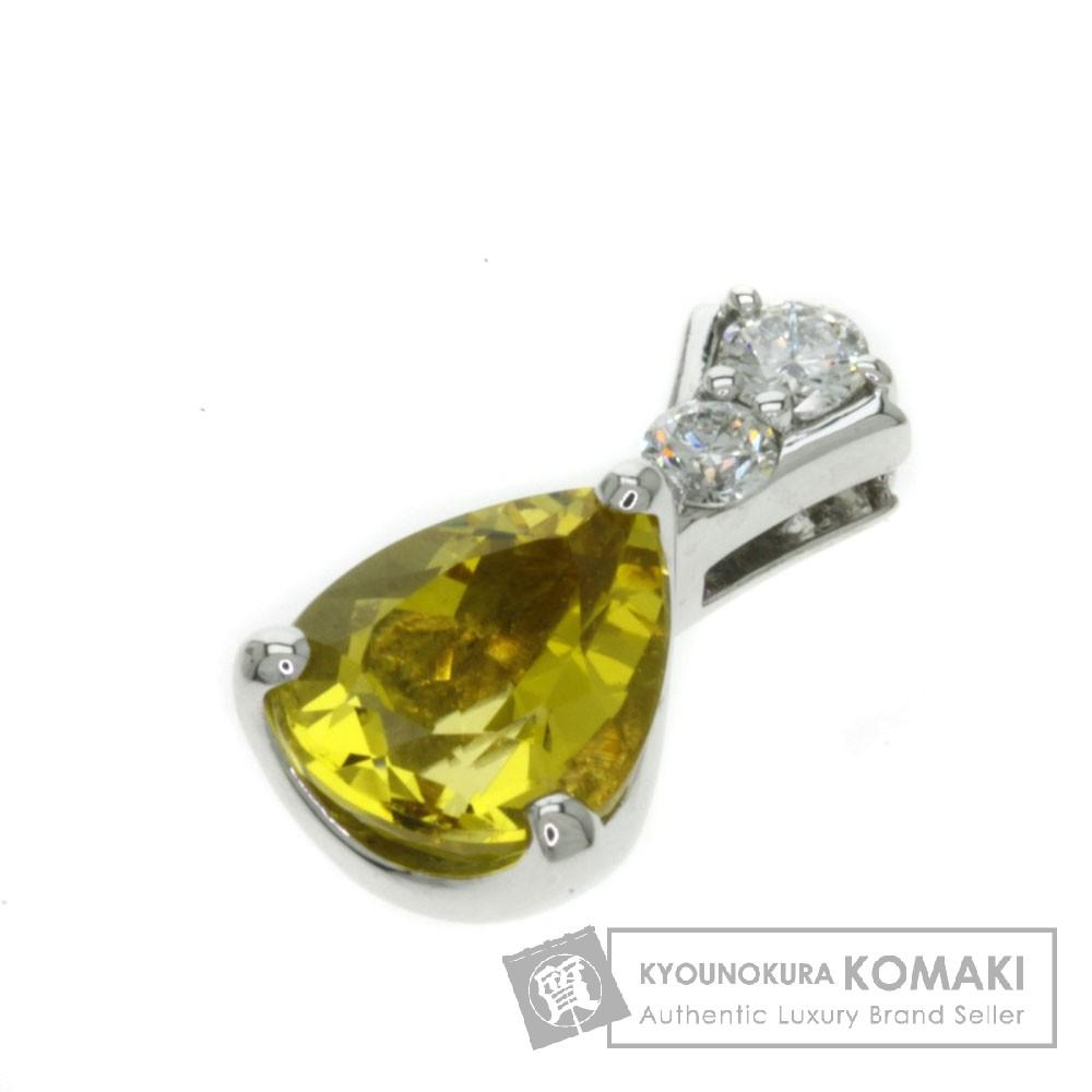2.47ct イエローベリル/ダイヤモンド ペンダント K18ホワイトゴールド 2.7g レディース 【中古】