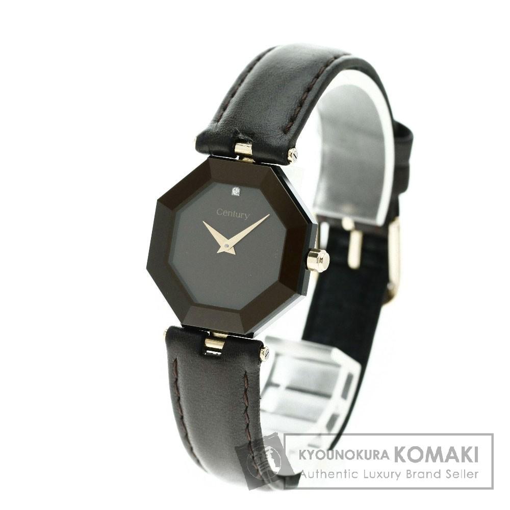 CENTURY ラッキーエイト 腕時計 K18イエローゴールド/革 レディース 【中古】【センチュリー】