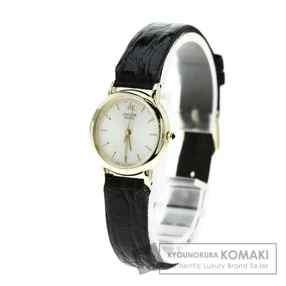SEIKO 4J81-0010 クレドール 腕時計 K18イエローゴールド/革 レディース 【中古】【セイコー】