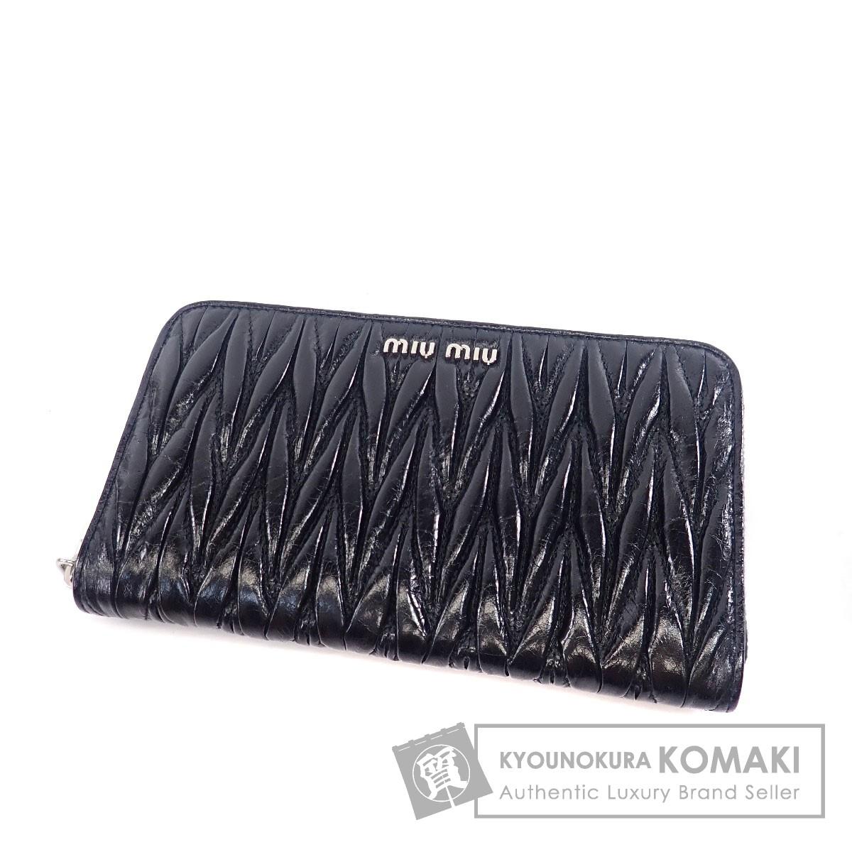 MIUMIU ロゴマーク 長財布(小銭入れあり) カーフ レディース 【中古】【ミュウミュウ】