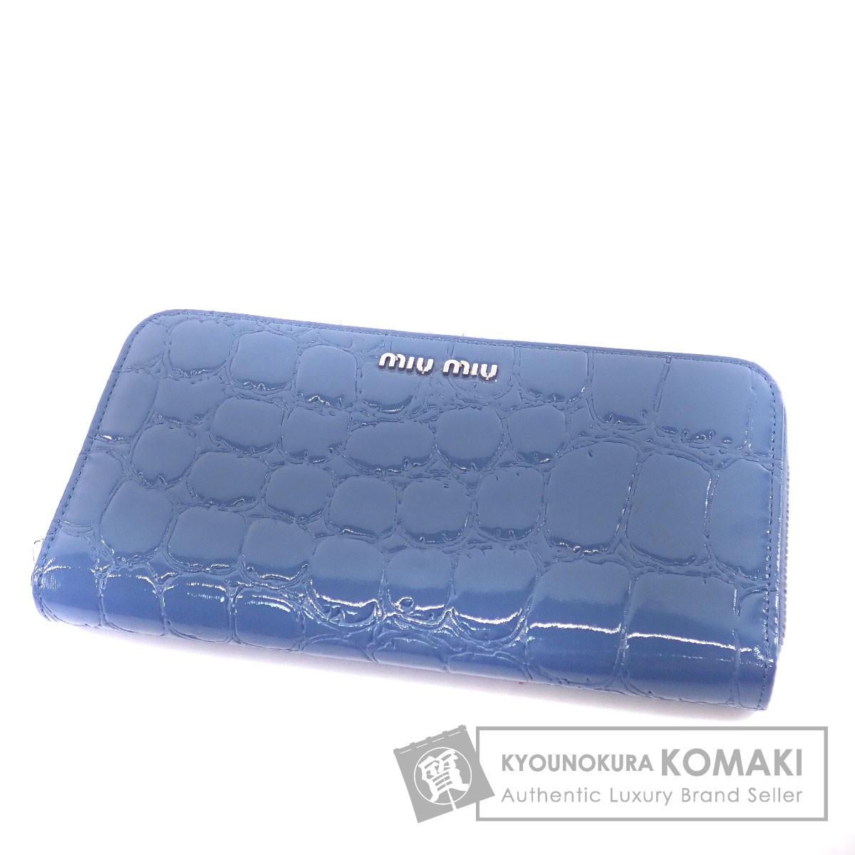 MIUMIU ロゴマーク 長財布(小銭入れあり) パテントレザー レディース 【中古】【ミュウミュウ】