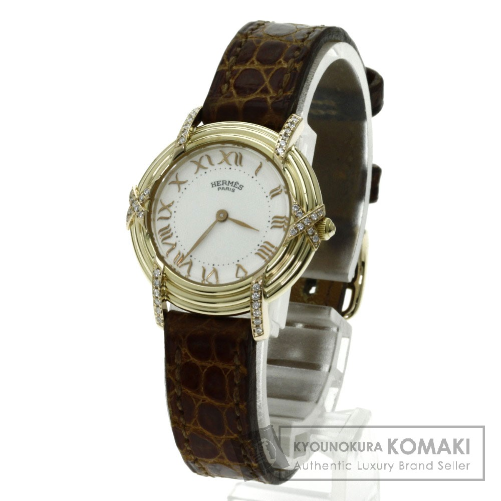 HERMES ルバン ダイヤモンド 腕時計 K18イエローゴールド/アリゲーター レディース 【中古】【エルメス】
