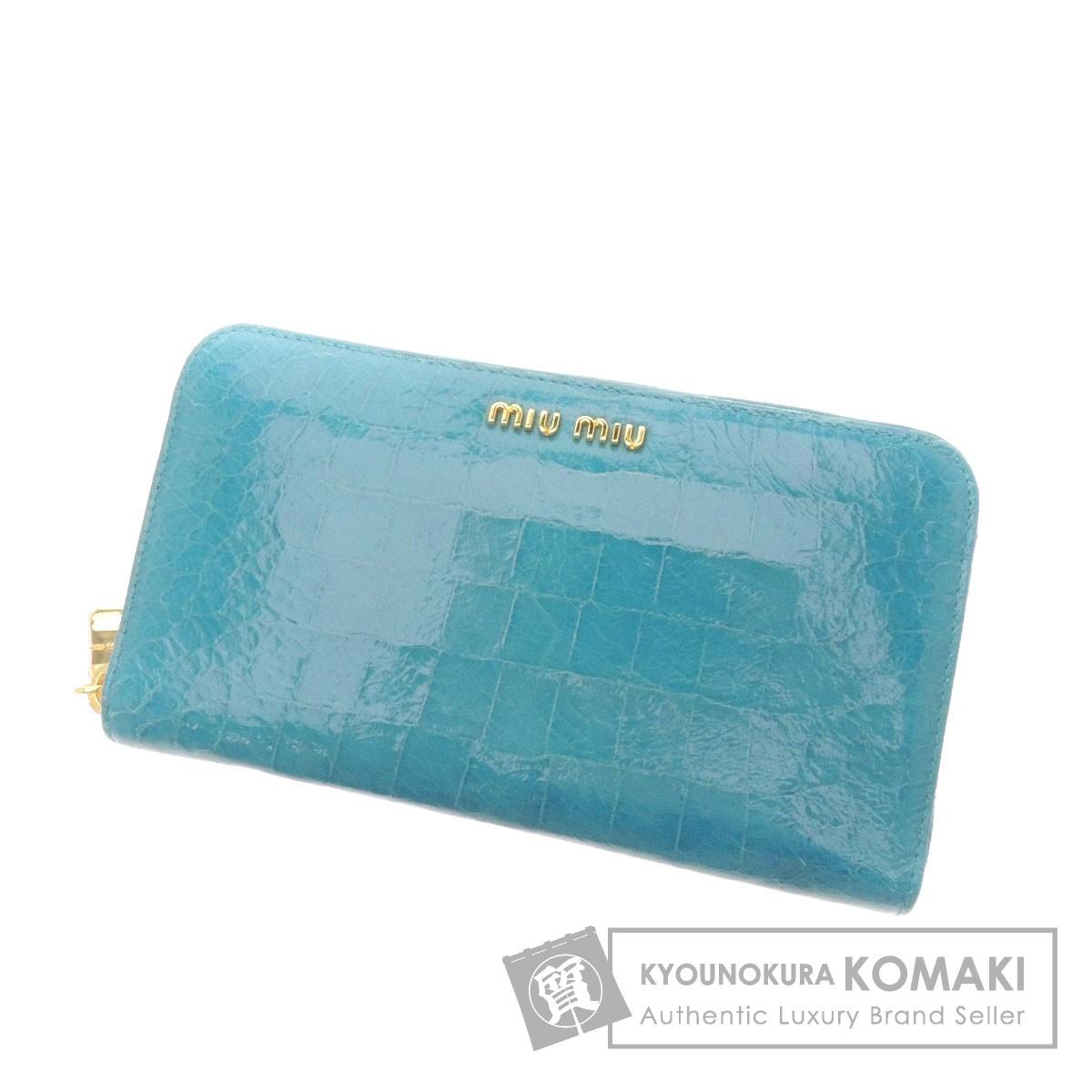 MIUMIU ロゴモチーフ 長財布(小銭入れあり) レザー レディース 【中古】【ミュウミュウ】