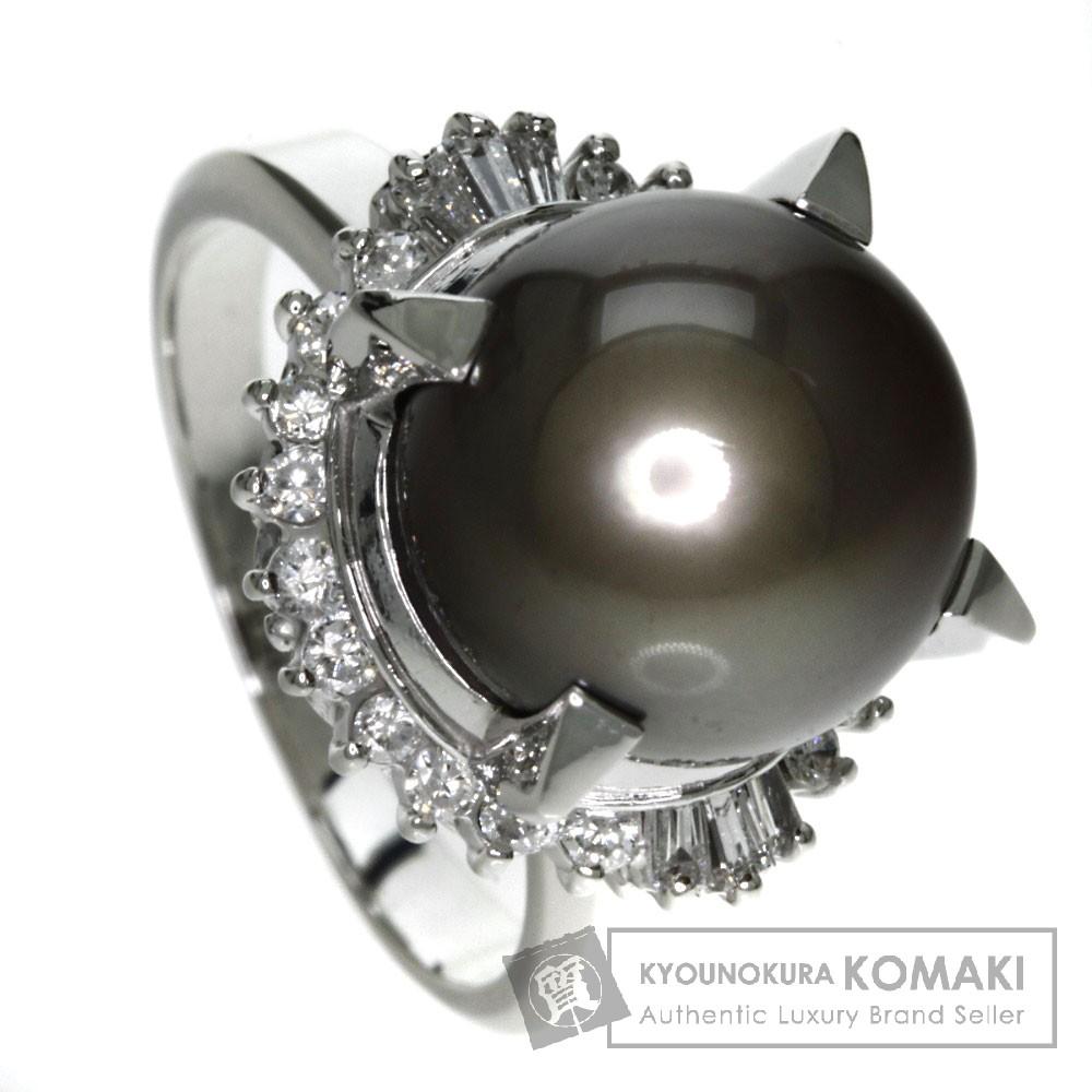 0.4ct 真珠/ダイヤモンド リング・指輪 プラチナPT900 14.3g レディース 【中古】