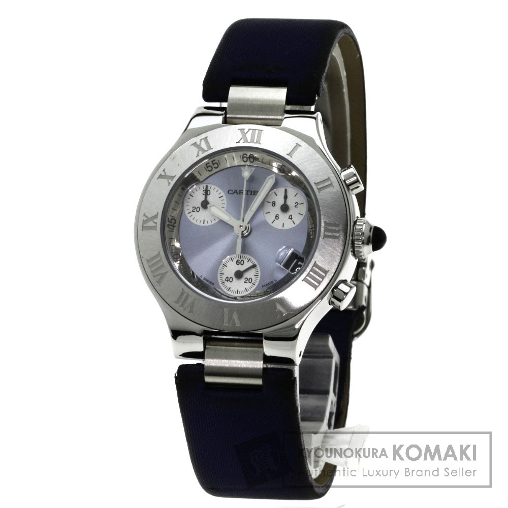 CARTIER W1020013 マスト21 クロノスカフ 腕時計 ステンレス/サテン レディース 【中古】【カルティエ】