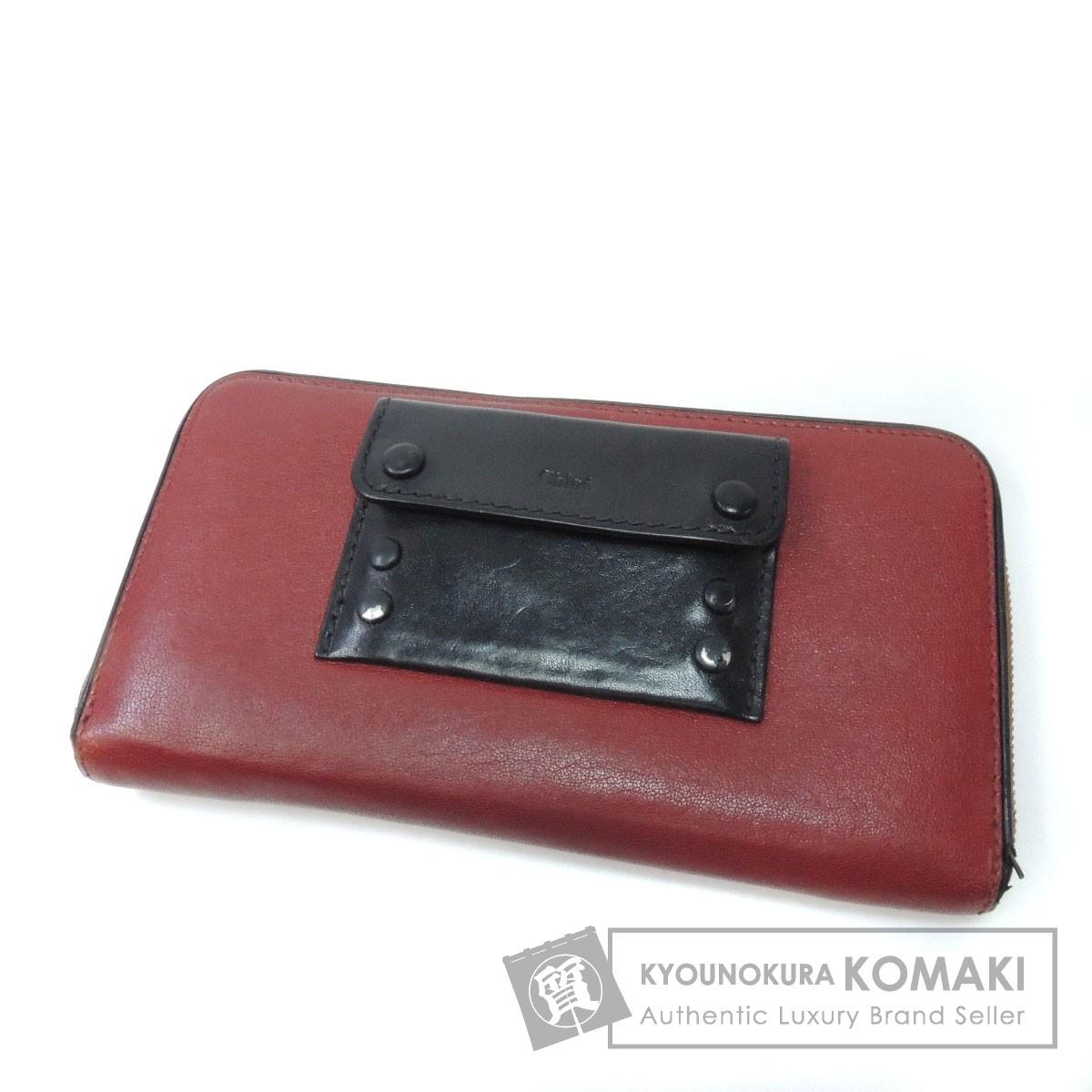 CHLOE ロゴ型押し 長財布(小銭入れあり) カーフ レディース 【中古】【クロエ】