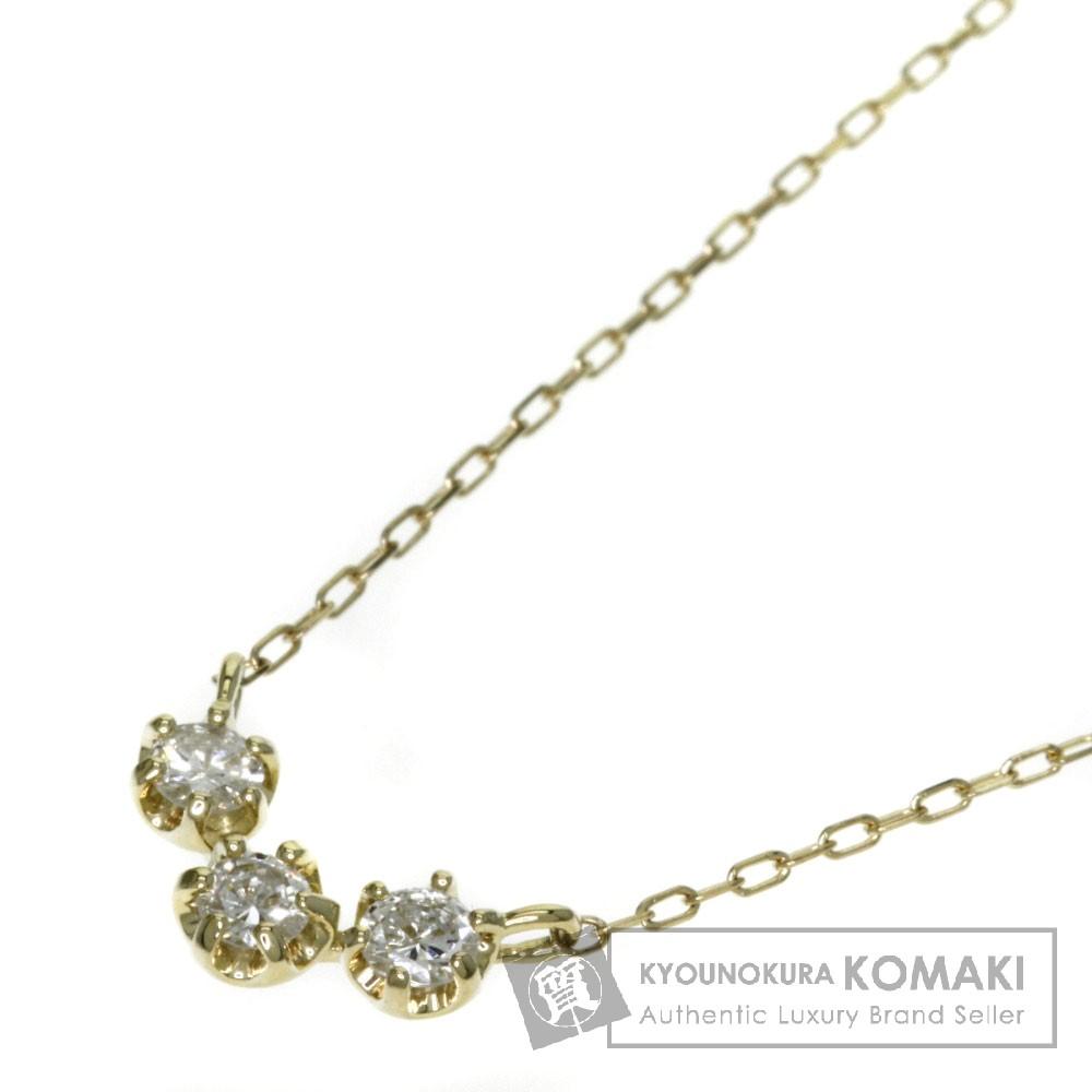 0.22ct ダイヤモンド ネックレス K18イエローゴールド 1.3g レディース 【中古】