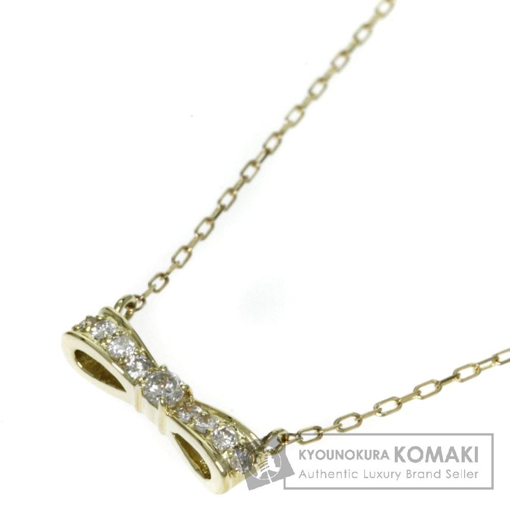 0.11ct ダイヤモンド/リボン ネックレス K18イエローゴールド 1.6g レディース 【中古】