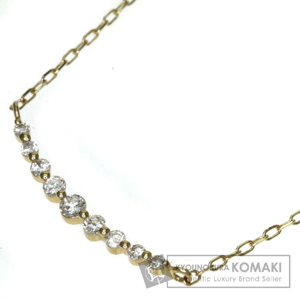 0.11ct ダイヤモンド ネックレス K18イエローゴールド 1.2g レディース 【中古】