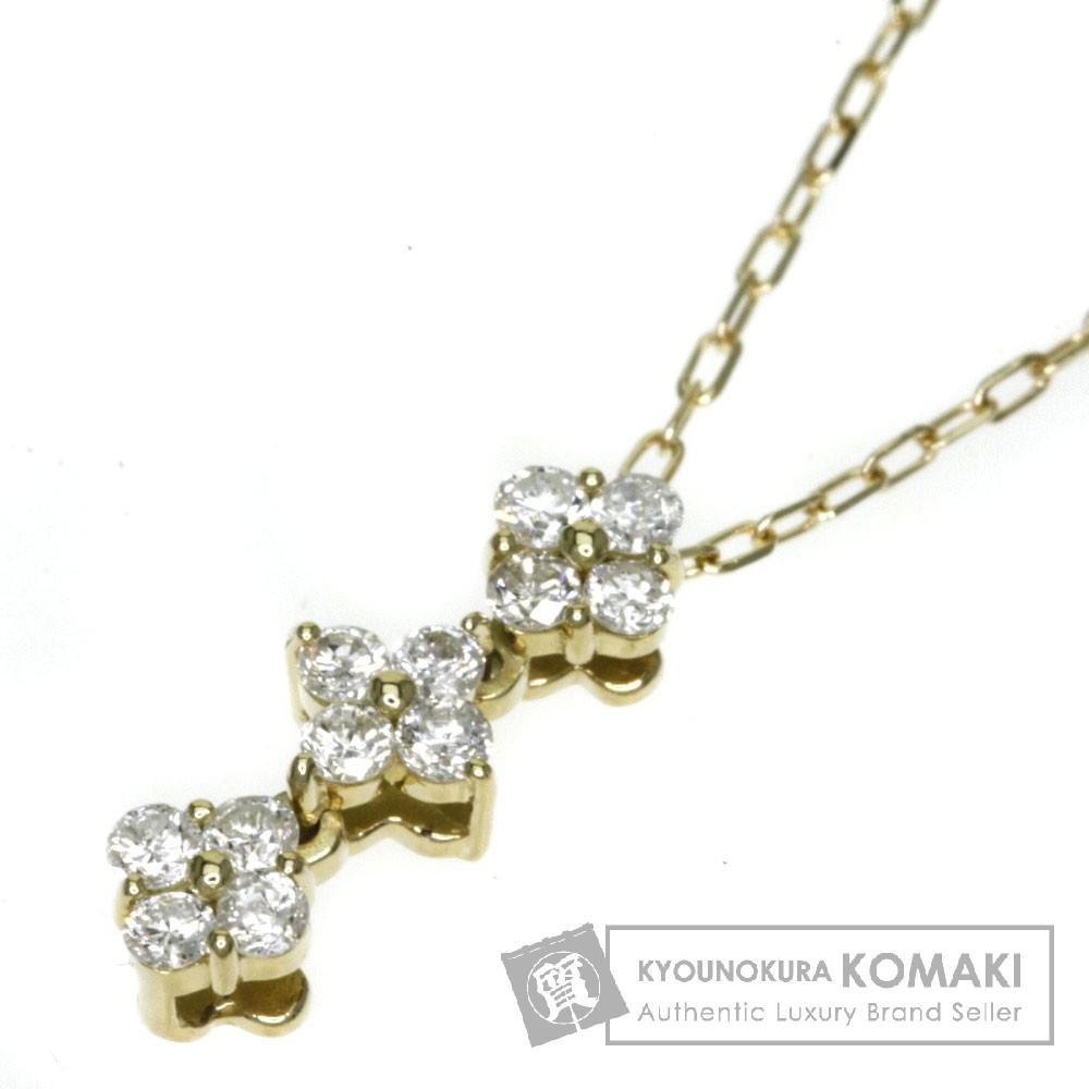 0.17ct ダイヤモンド ネックレス K18イエローゴールド 1.4g レディース 【中古】