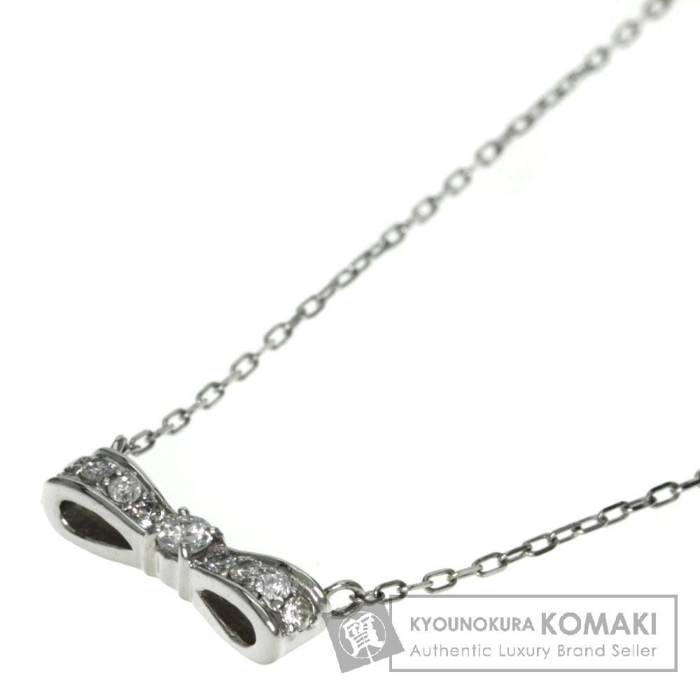0.11ct ダイヤモンド/リボン ネックレス プラチナPT900/PT850 2g レディース 【中古】