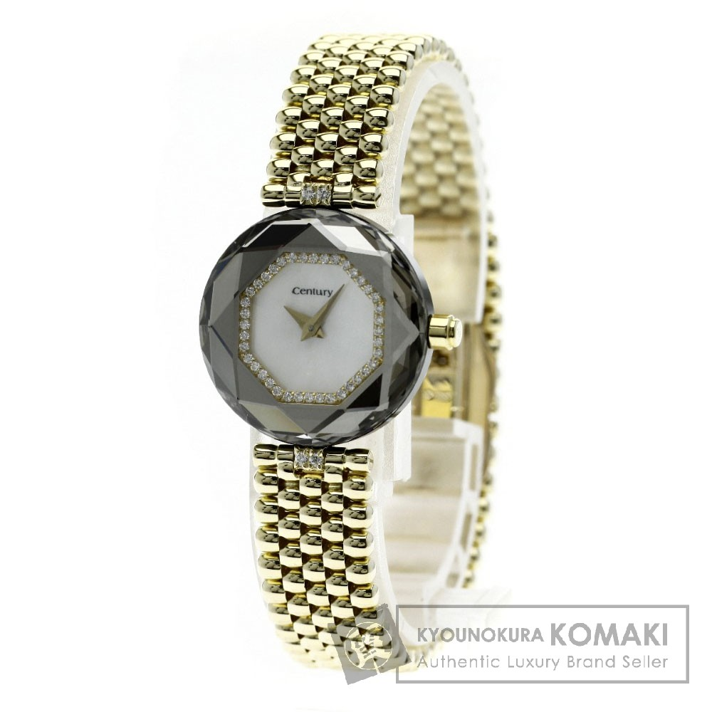 CENTURY タイムジェム ダイヤモンド 腕時計 OH済 K18イエローゴールド レディース 【中古】【センチュリー】