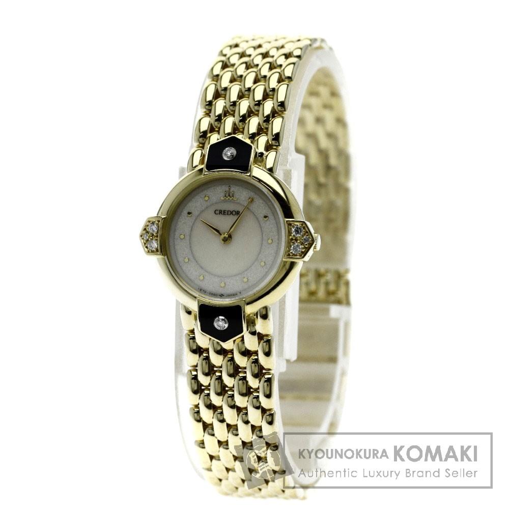 SEIKO 1E70-0240 クレドール ダイヤモンド 腕時計 K18イエローゴールド レディース 【中古】【セイコー】