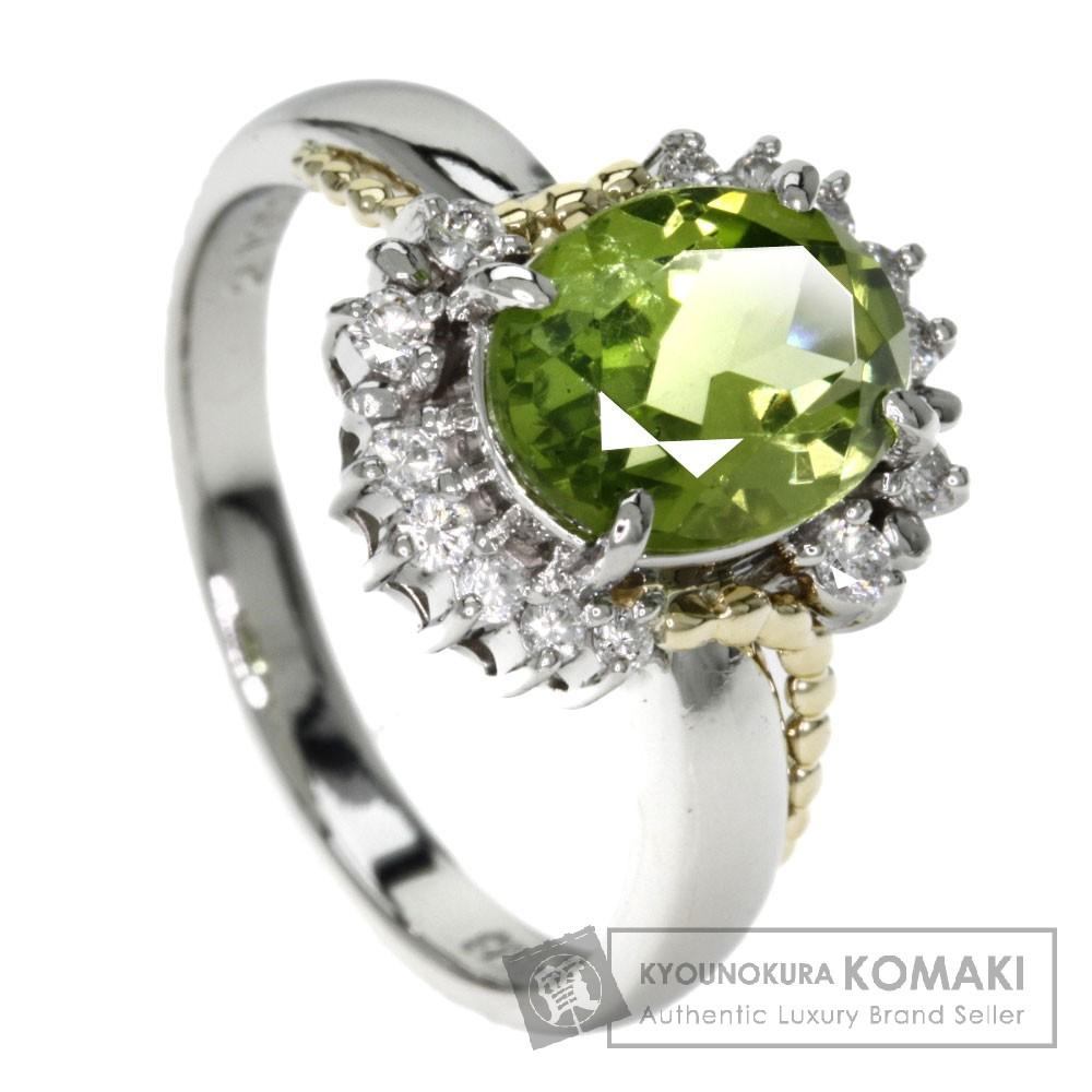 2.13ct ペリドット/ダイヤモンド リング・指輪 プラチナPT900/K18YG 7.1g レディース 【中古】