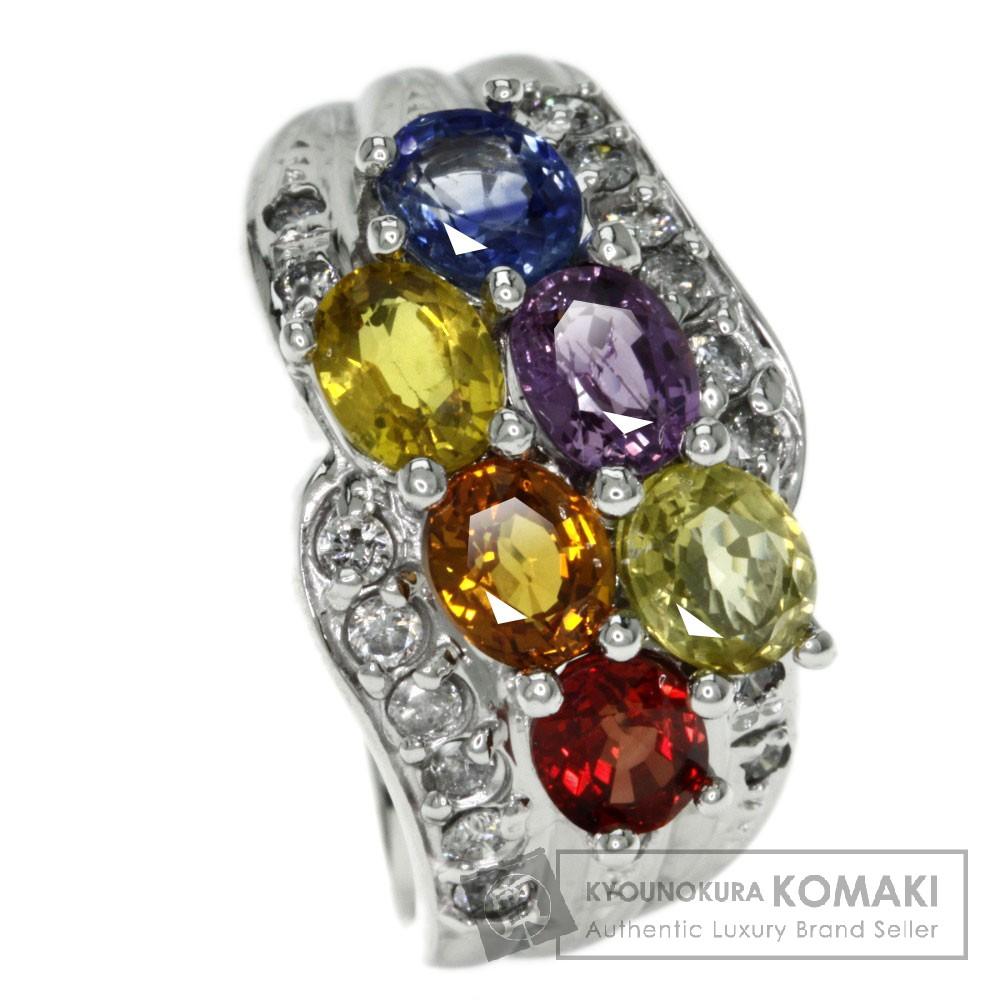 2.85ct サファイア/ダイヤモンド リング・指輪 K18ホワイトゴールド 5.9g レディース 【中古】