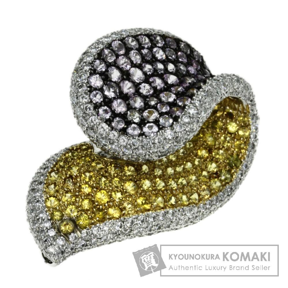 .20ct サファイア/ダイヤモンド ブローチ K18ホワイトゴールド 16.8g レディース 【中古】