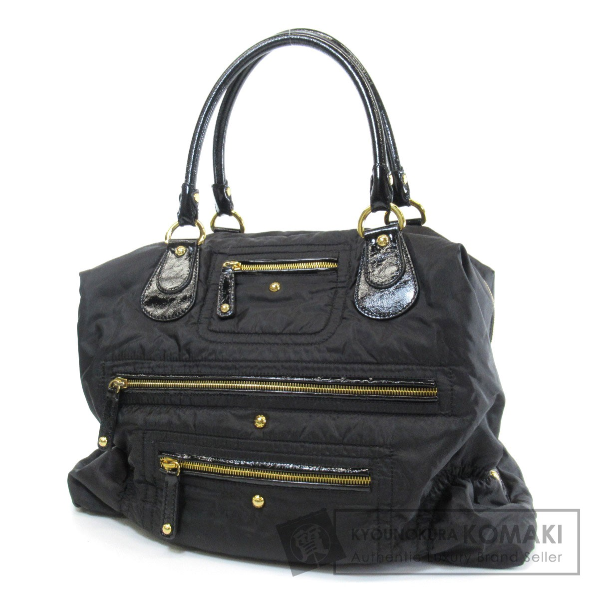 TODS フロントポケット ボストンバッグ ナイロン素材/パテントレザー レディース 【中古】【トッズ】