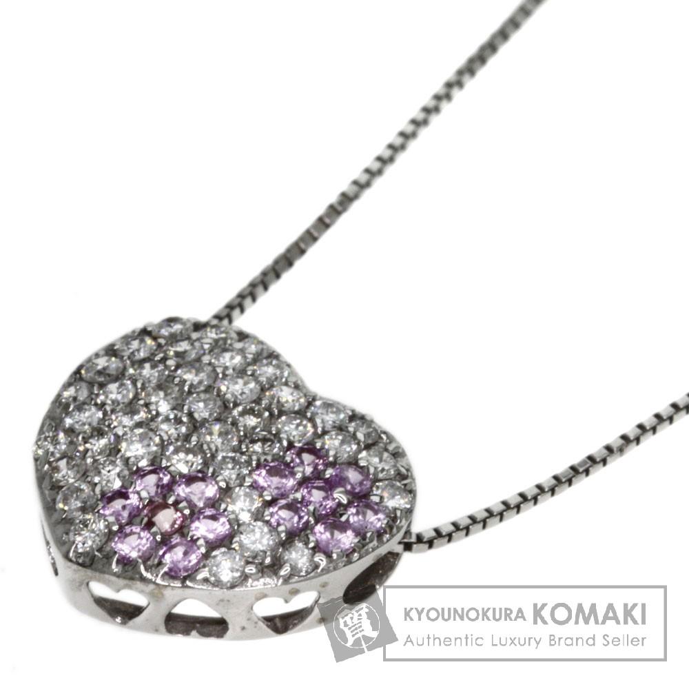 0.26ct ピンクサファイア/ダイヤモンド ネックレス K18ホワイトゴールド 5.1g レディース 【中古】