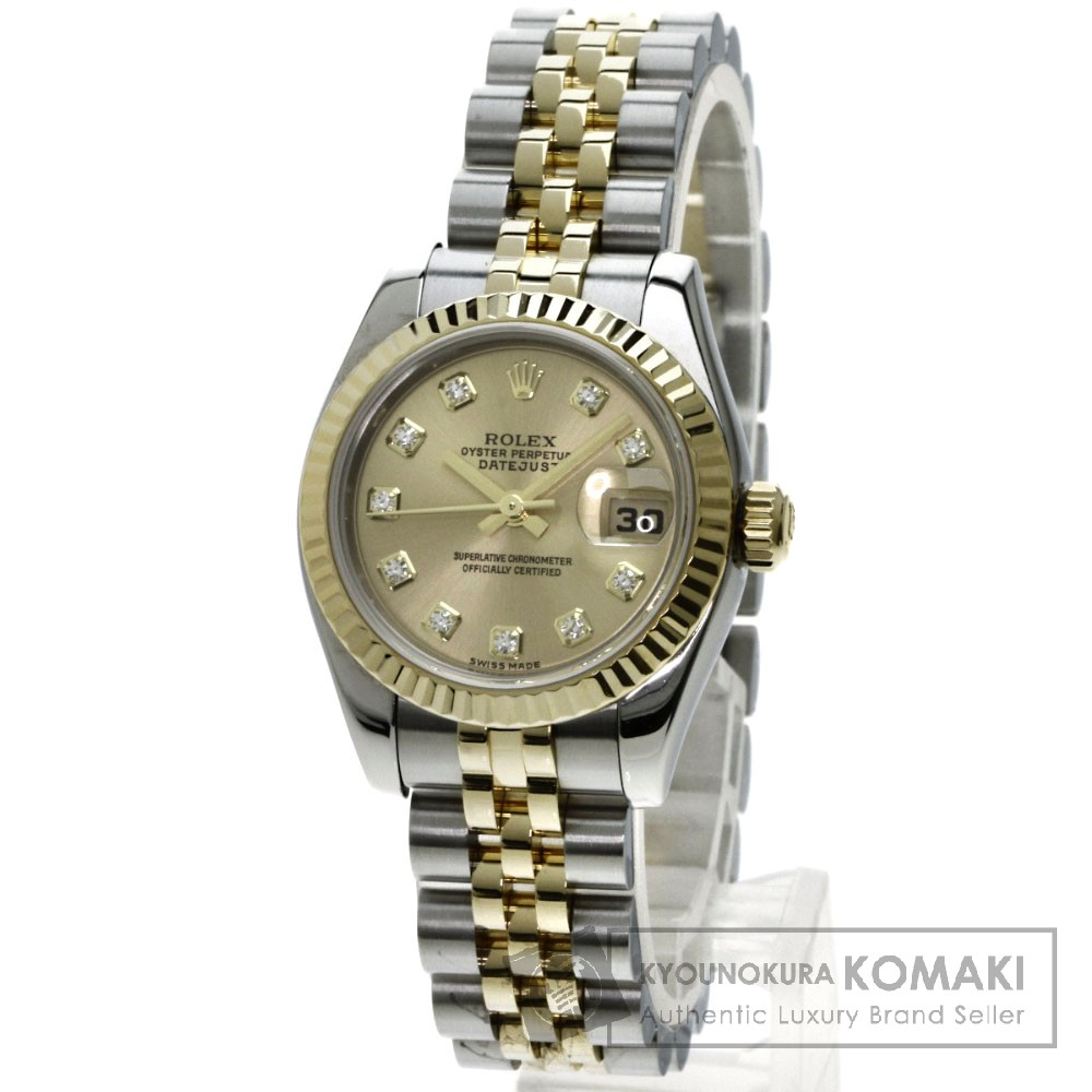 ROLEX 179173G デイトジャスト 10Pダイヤモンド 腕時計 OH済 /K18YG/SS レディース 【中古】【ロレックス】