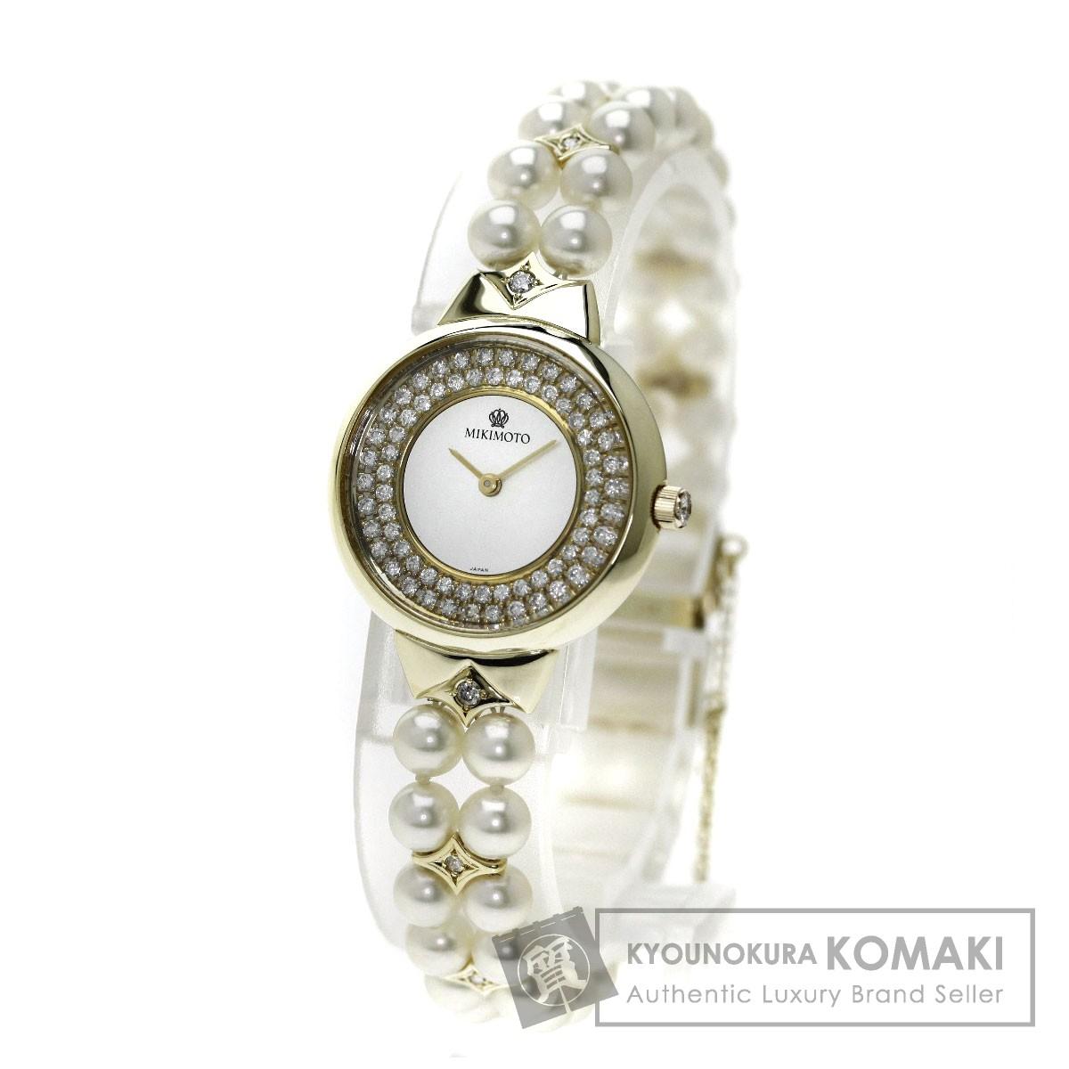 MIKIMOTO 真珠/ダイヤモンド 腕時計 /K14YG レディース 【中古】【ミキモト】