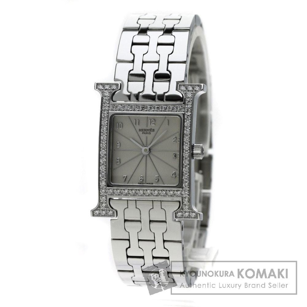 HERMES HH1.230 Hウォッチ ベゼルダイヤモンド 腕時計 ステンレス レディース 【中古】【エルメス】