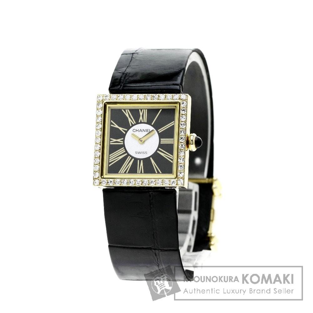 CHANEL マドモアゼル ダイヤモンド 腕時計 K18イエローゴールド/革 レディース 【中古】【シャネル】