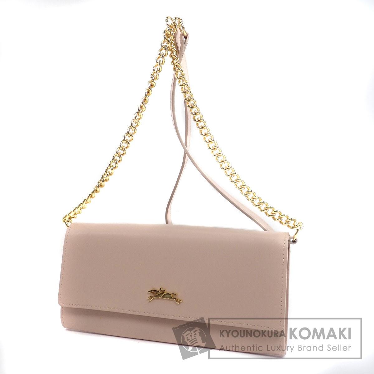 Longchamp チェーンショルダー ショルダーウォレット 長財布(小銭入れあり) レザー レディース 【中古】【ロンシャン】