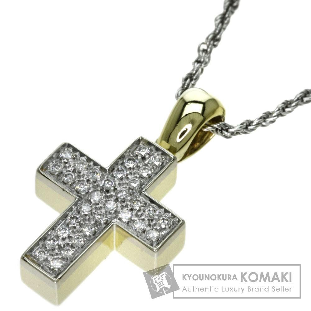 Damiani ダイヤモンド クロス ネックレス K18イエローゴールド/K18WG レディース 【中古】【ダミアーニ】