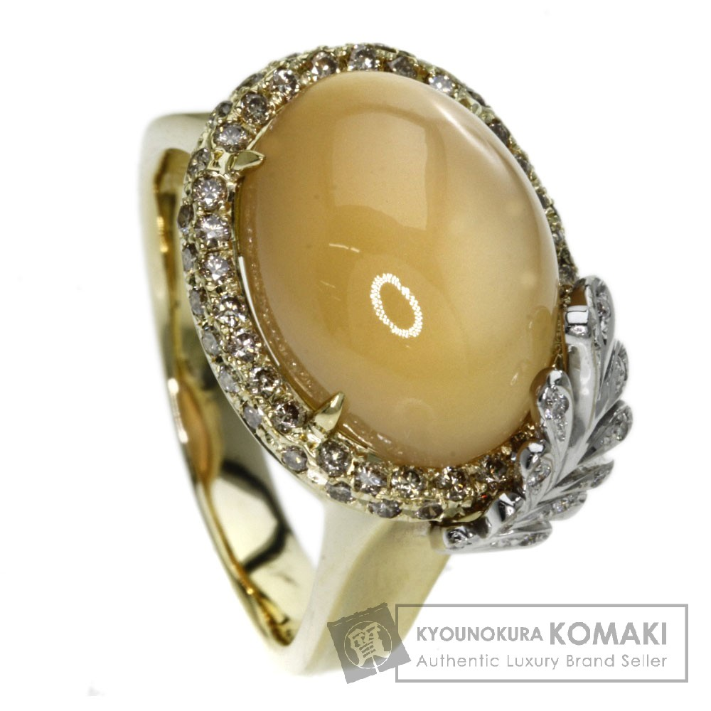 8.69ct ムーンストーン/ダイヤモンド リング・指輪 K18イエローゴールド 10.8g レディース 【中古】