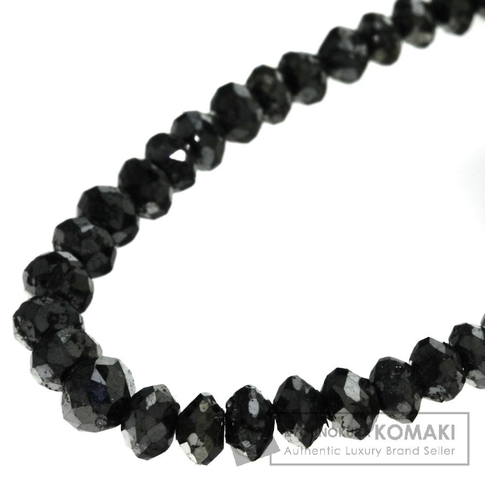 ブラックダイヤモンド ネックレス K18ホワイトゴールド 10.9g レディース 【中古】