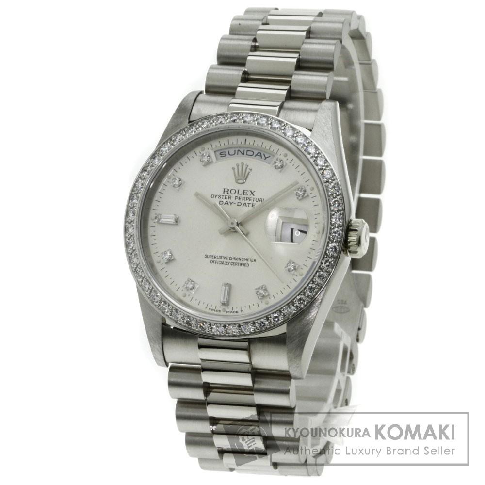 ROLEX 18349A デイデイト 10Pダイヤモンド 腕時計 OH済 K18ホワイトゴールド/ダイヤモンド メンズ 【中古】【ロレックス】