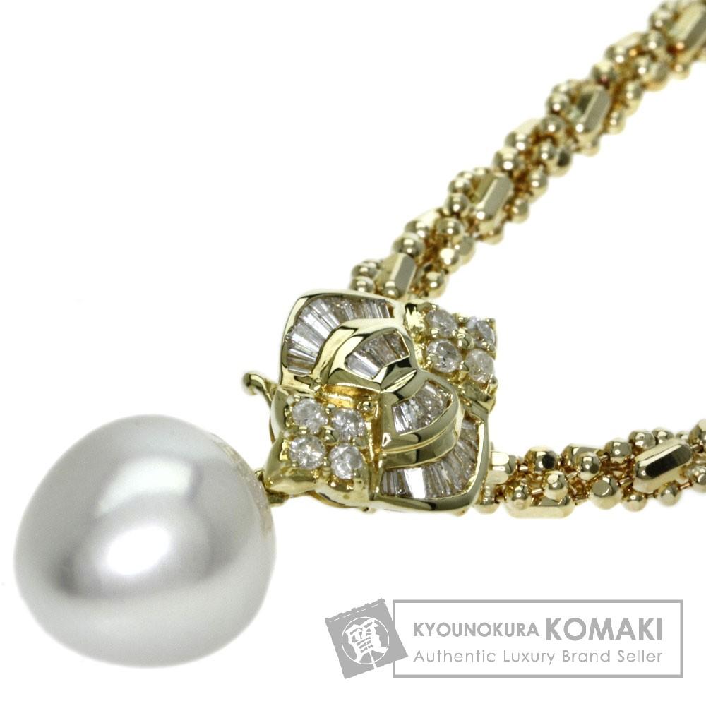 0.5ct パール/真珠 ダイヤモンド ネックレス K18イエローゴールド 32.34g レディース 【中古】